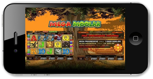 Mega Moolah mobile slot game on iPad