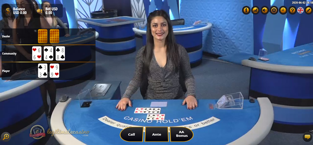 Gameplay Of Dealer Playing Live Casino Hold'em