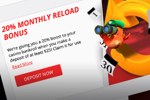 20% Monthly Reload Bonus at BetOnline