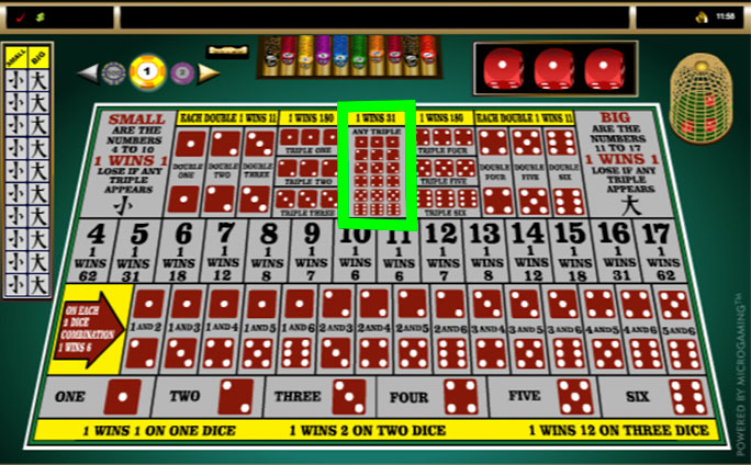 sic bo online any triple bets layout