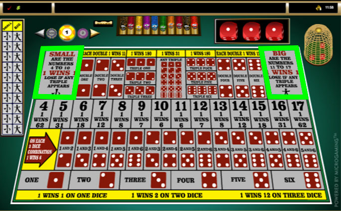 sic bo online small and big bets layout