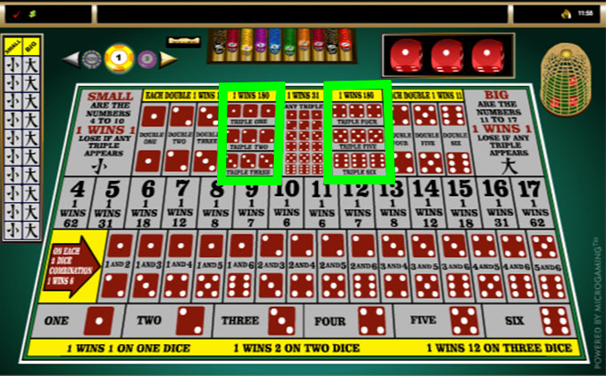sic bo online specific triple bets layout