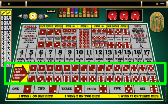 sic bo online two dice bets layout