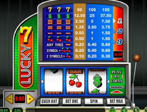Lucky 7 slot game at Betnow